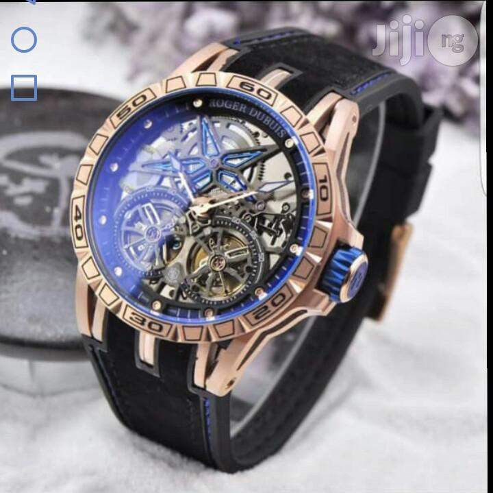 Roger Dubuis Rose Gold Skeleton Rubber Strap Watch