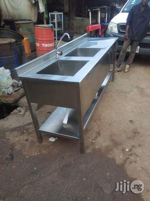 Stainless Work Table With Double Sink | Restaurant & Catering Equipment for sale in Lagos State, Surulere