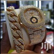 Patek Philippe Ice Stones Gold Wristwatch & Ice Stones Bracelet   Jewelry for sale in Lagos State, Surulere