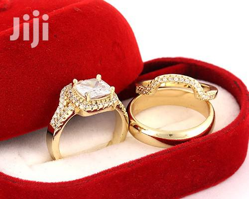 Plated Gold Wedding Ring Set