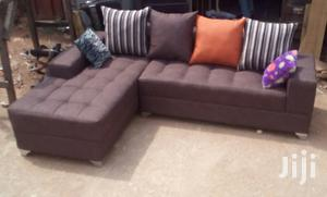 L-Shape Sofa Chair, Couch With Free Throw Pillows. Brown Colour | Furniture for sale in Lagos State, Ajah