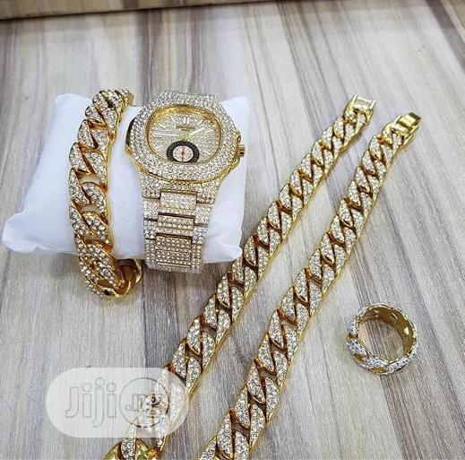 Set Of Patek Phillipe Watch, Neck, Hand Chain & Ring Gold