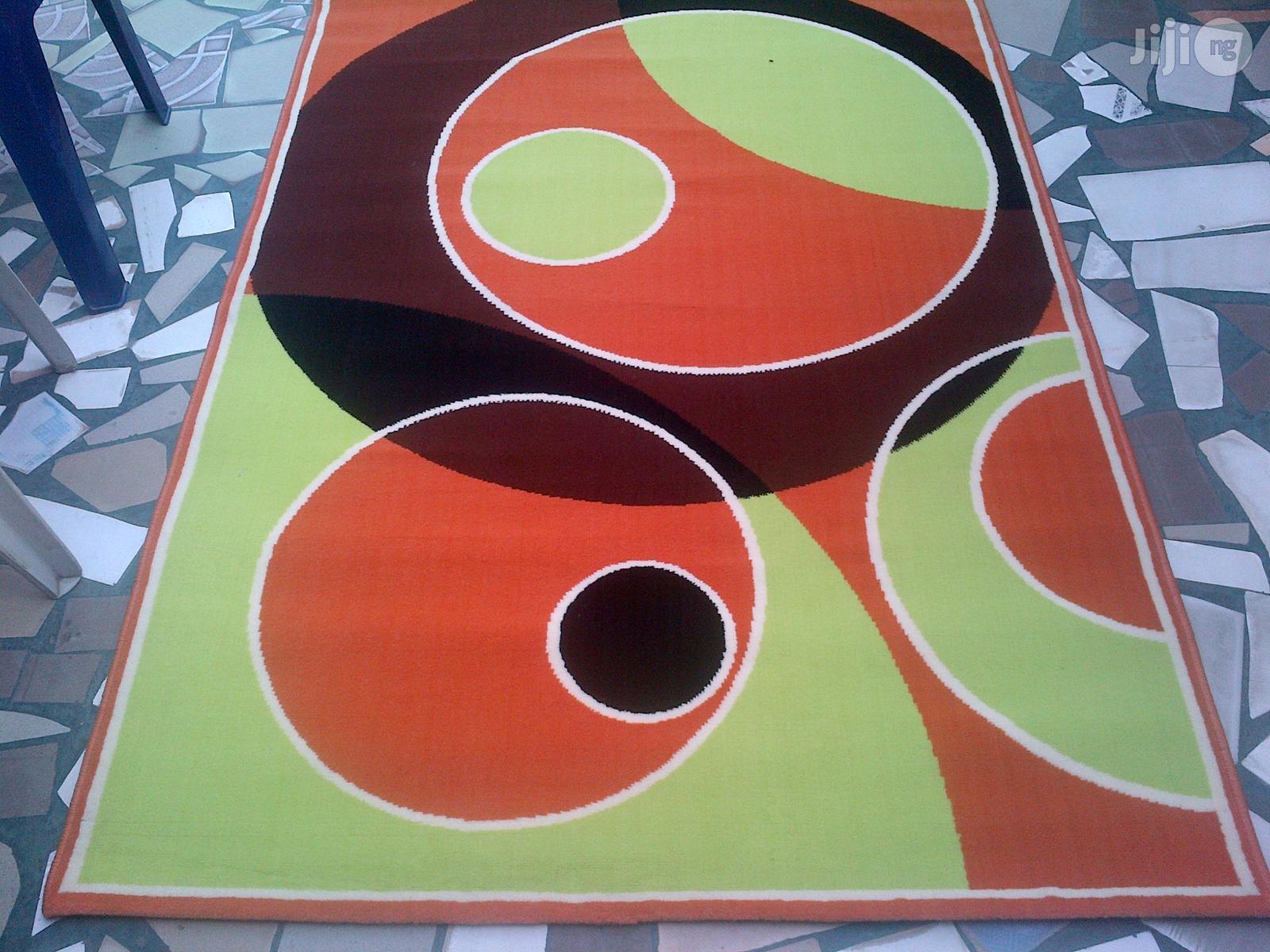 Orange Lemon And Black Design Centre Rug 4 By 6