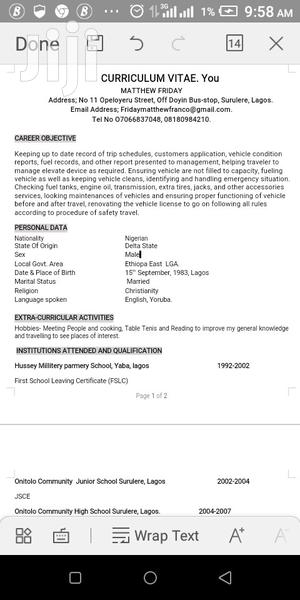 Driver CV | Driver CVs for sale in Delta State, Ethiope East