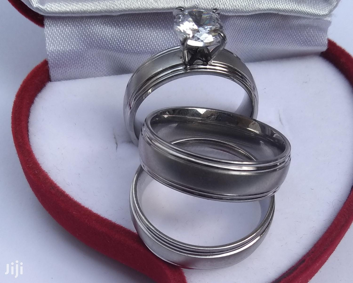 Pure Steel Wedding Ring Set Silver