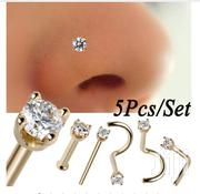 5 Pcs/Set Steel Crystal Diamond Stud Nose / Body Piercing Jewelry | Jewelry for sale in Lagos State, Lekki Phase 1
