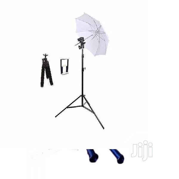 7ft 2m Photo Studio Light Stand Tripod + Flash Bracket & Umbrella