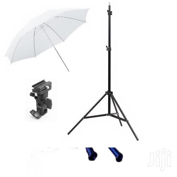 7ft 2m Photo Studio Light Stand Tripod + Flash Bracket & Umbrella | Accessories & Supplies for Electronics for sale in Surulere, Lagos State, Nigeria