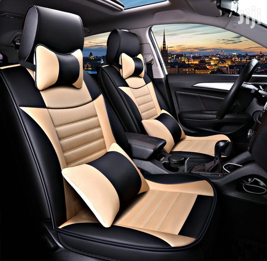 Cream And Black (Front+Rear) Leather Car Seat Covers