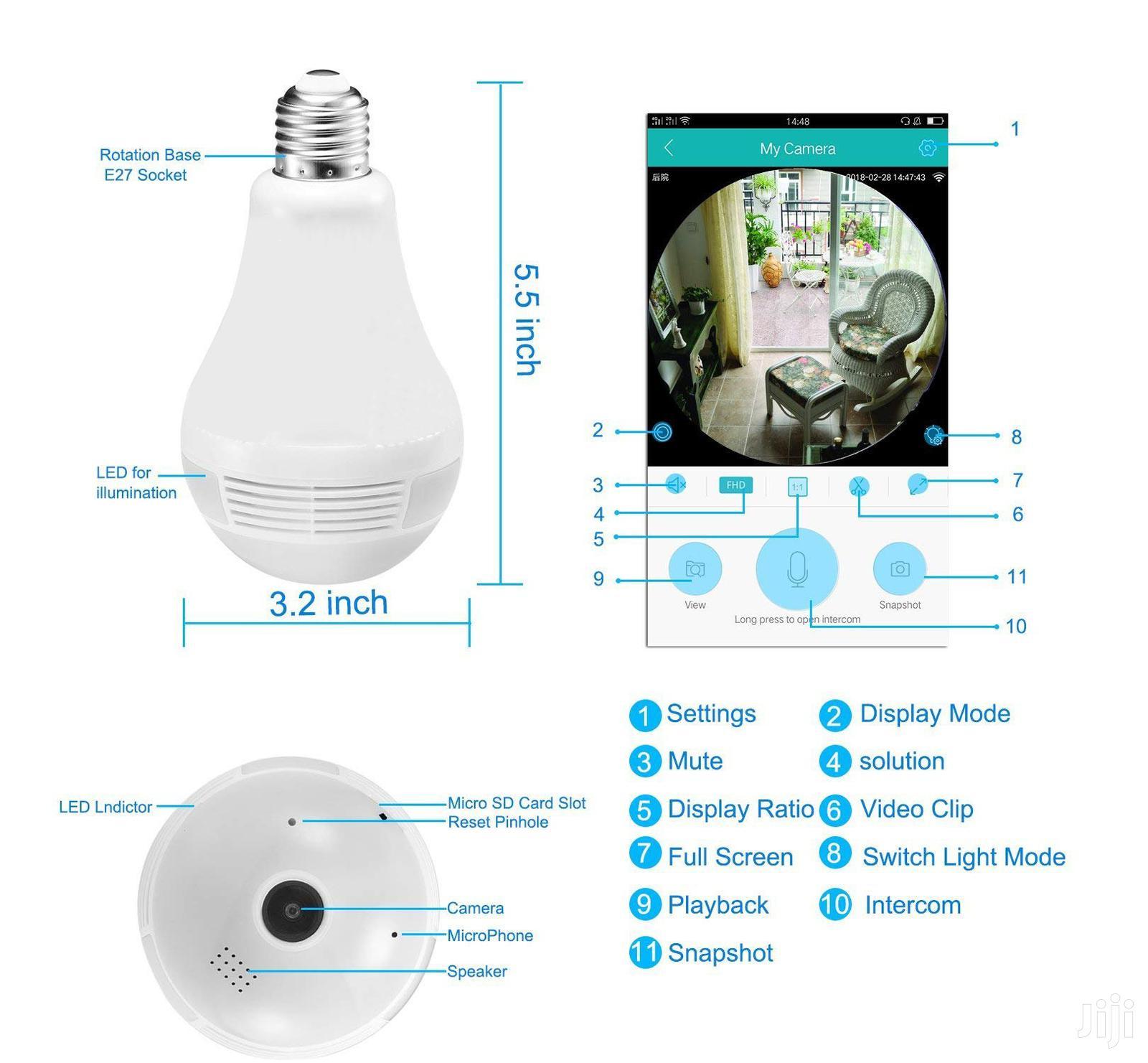 CCTV Wireless Ip Camera System, Wifi Camera Light Bulb 1080P   Security & Surveillance for sale in Ikeja, Lagos State, Nigeria