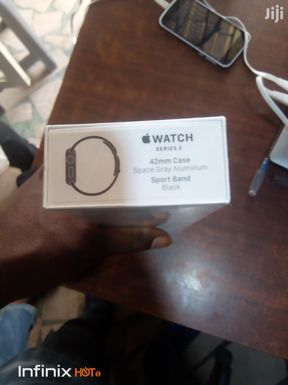 Iwatch SERIES 3. 42mm Case Space Gray Aluminum Sport Band(Black | Smart Watches & Trackers for sale in Ikeja, Lagos State, Nigeria