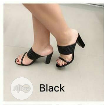 Archive: Ladies Block Heel Black Slippers