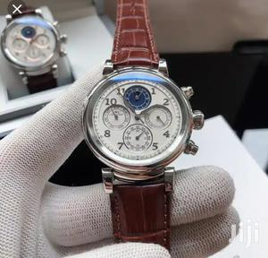 Iwc Schaffhausen Automatic Chronograph Silver Leather Strap Watch   Watches for sale in Lagos State, Lagos Island (Eko)