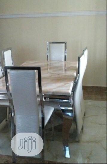 Imported Quality Marble Dining Table With Six Chairs
