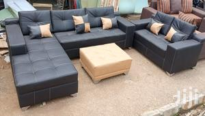L-Shape Sofa With 2-Seater Chair and Ottoman Center Table -Black Couch   Furniture for sale in Lagos State, Ajah
