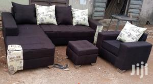 L-Shape Sofas and Single Seater Chair With Ottoman. Dark Brown Couches | Furniture for sale in Lagos State, Ikeja