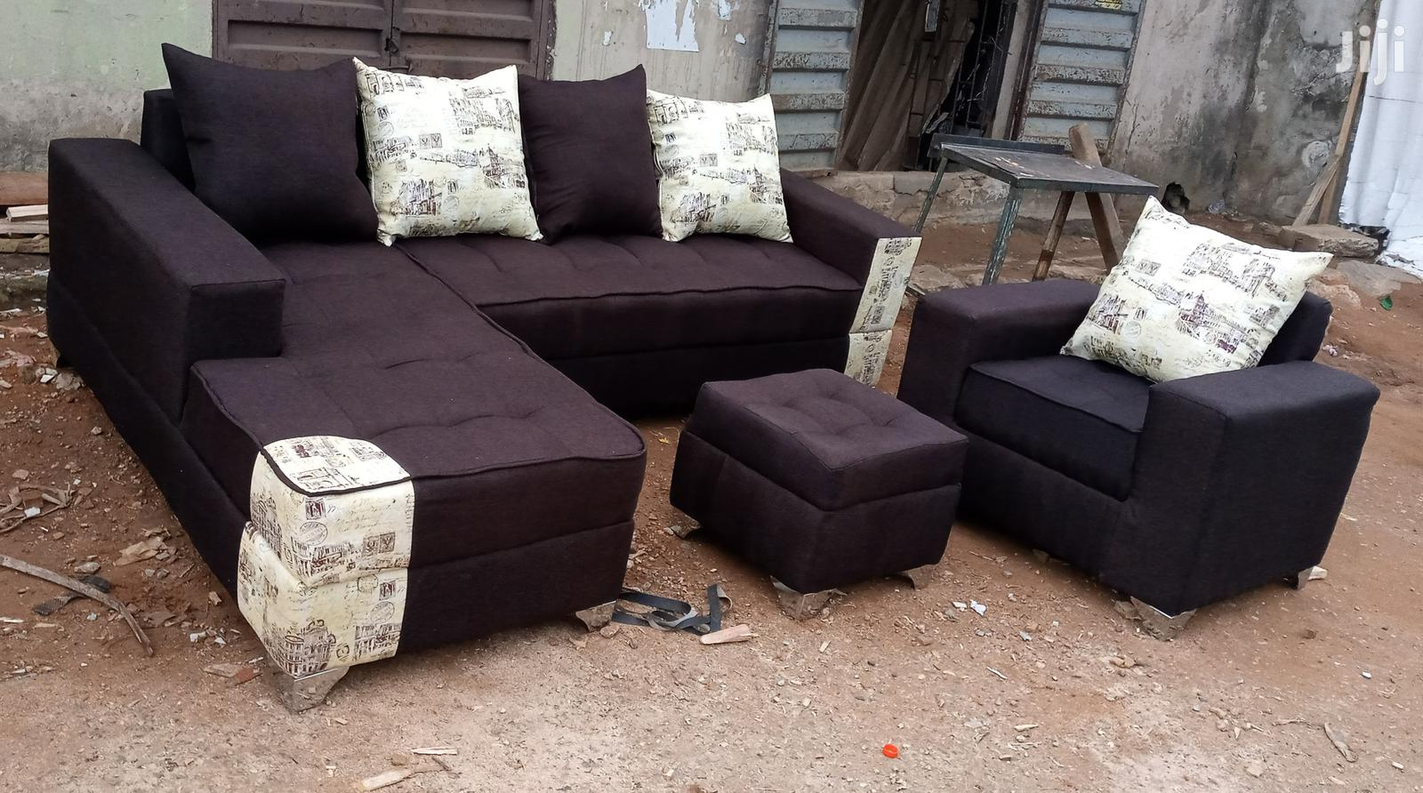 Picture of: Archive L Shaped Sofas And Single Seater Chair With Ottoman Dark Brown Couch In Ikorodu Furniture Prefix E Jiji Ng