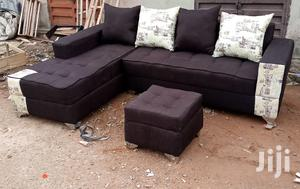 L-Shaped Sofa Chair and Ottoman - Dark Brown Fabric Couches | Furniture for sale in Lagos State, Ajah