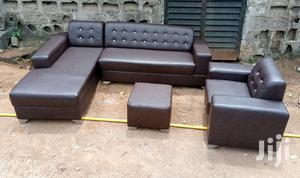 L-Shaped Sofas With a Single Seater Chair and Ottoman - Brown Couches | Furniture for sale in Lagos State, Ikorodu