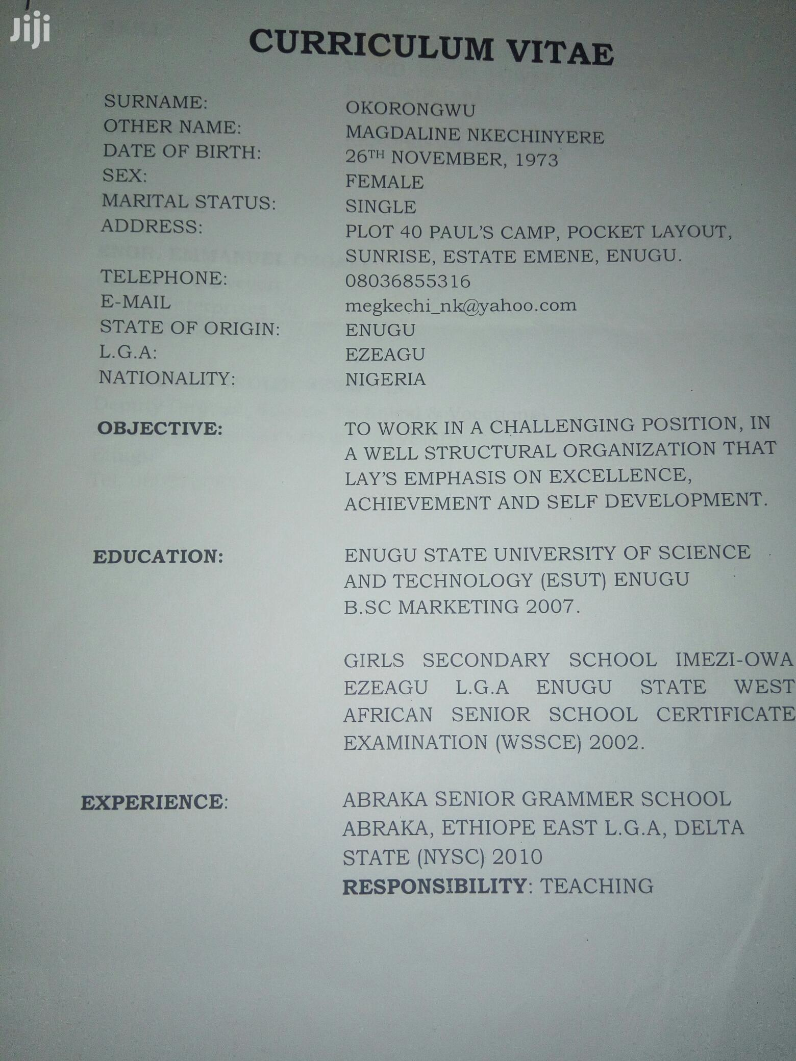 Advertising & Marketing CV | Advertising & Marketing CVs for sale in Ezeagu, Enugu State, Nigeria