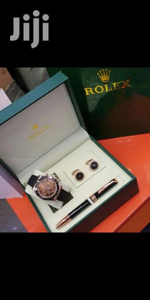 Rolex Daytona Rose Gold Leather Strap Watch And Pen And Cufflinks   Watches for sale in Lagos State, Lagos Island (Eko)