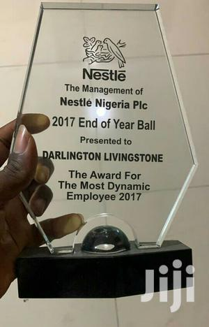 Crystal /Glass Award With Printing   Arts & Crafts for sale in Lagos State, Agege