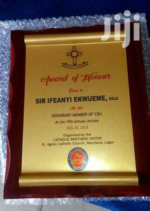 Wooden Plaque Award With Printing   Arts & Crafts for sale in Lagos State, Isolo
