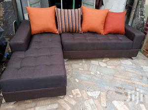 Set of L-Shaped Sofa Chairs With Pillows Back - Brown Fabric Couches | Furniture for sale in Lagos State, Ikorodu