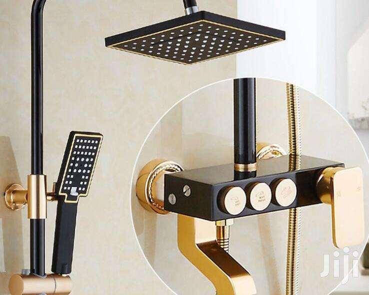 Black And Gold Standing Shower.