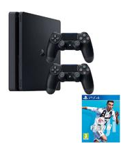 Playstation 4 Slim 500GB Bundle - With Two DUALSHOCK 4 FIFA 19 | Video Game Consoles for sale in Lagos State, Ikeja
