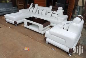 L-Shape Sofas With Single Seater Chair, a Centre Table - White Couches   Furniture for sale in Lagos State, Ikeja