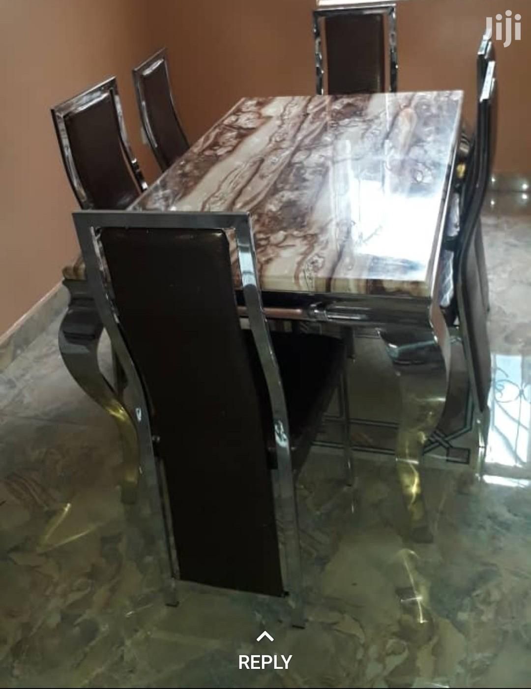 Quality Imported Marble Dining Table With Six Chairs