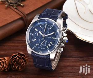 Cartier Chronograph Silver Blue Leather Strap Watch   Watches for sale in Lagos State, Lagos Island (Eko)