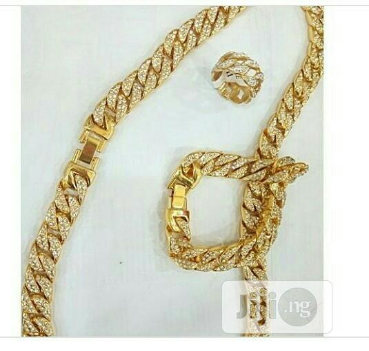 Cuban Choker Chain Necklace With Hand Chain And Ring