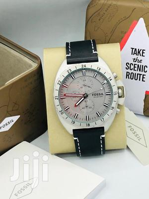Fossil Chronograph Silver Leather Strap Watch   Watches for sale in Lagos State, Lagos Island (Eko)