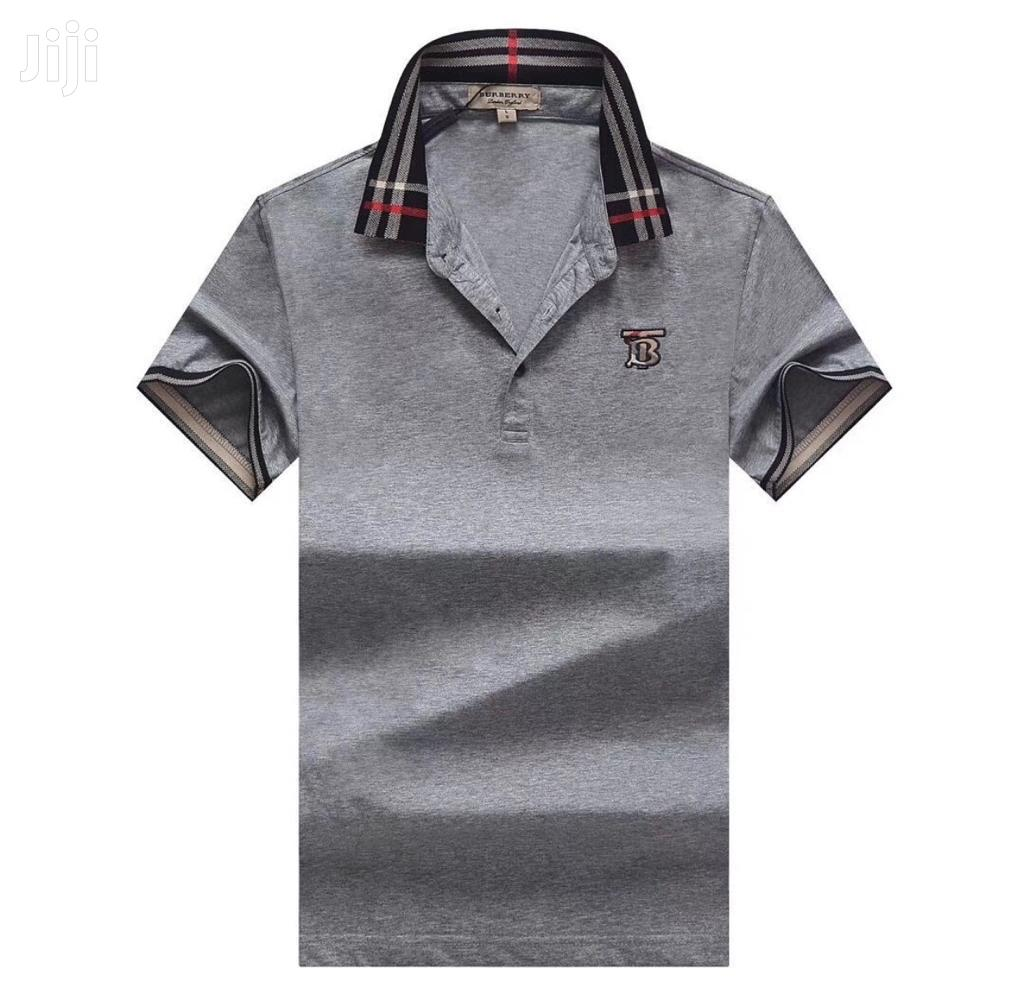 Archive: Gray Color Designer's Polo Tshirts by Burberry