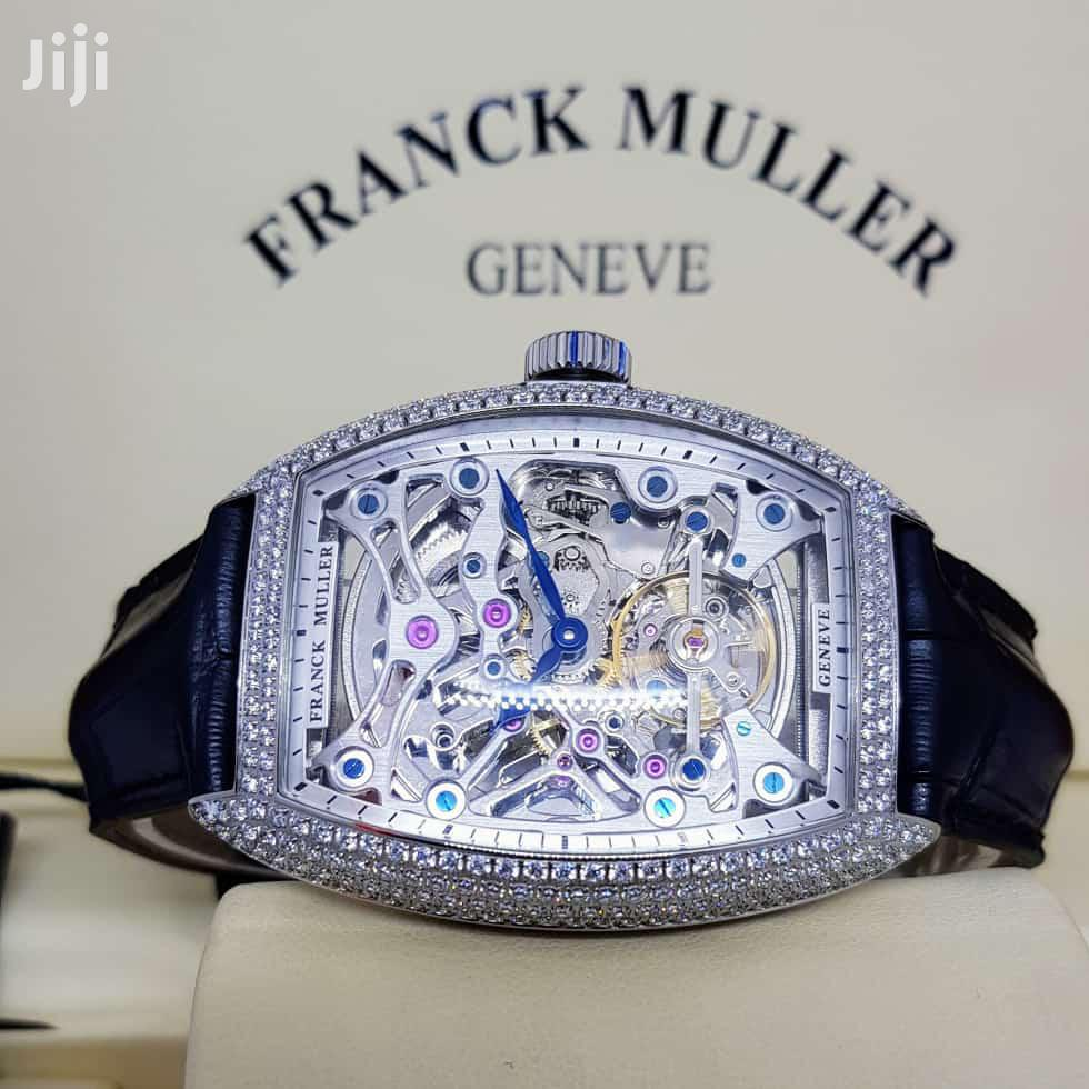 Franck Muller Full Ice Silver Leather Strap Watch