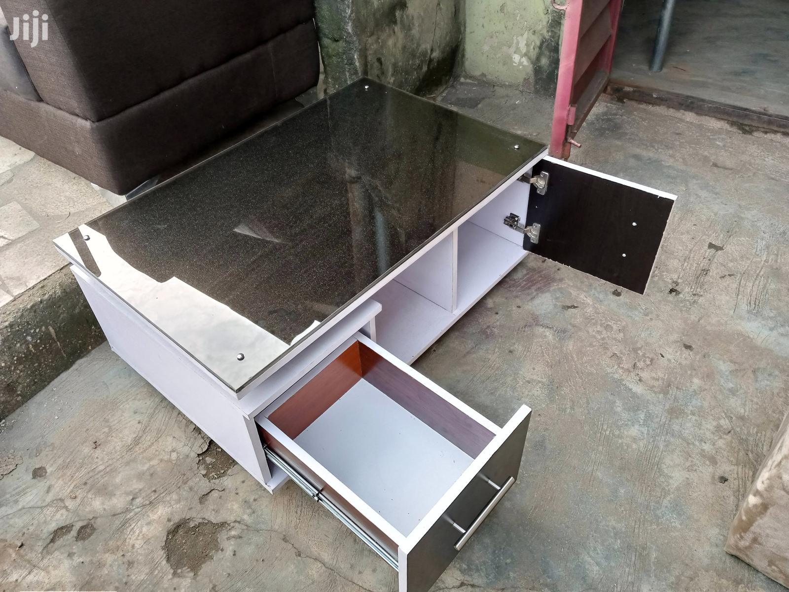 Archive: Centre Table With Glass Top And Drawers. White With Black Colour