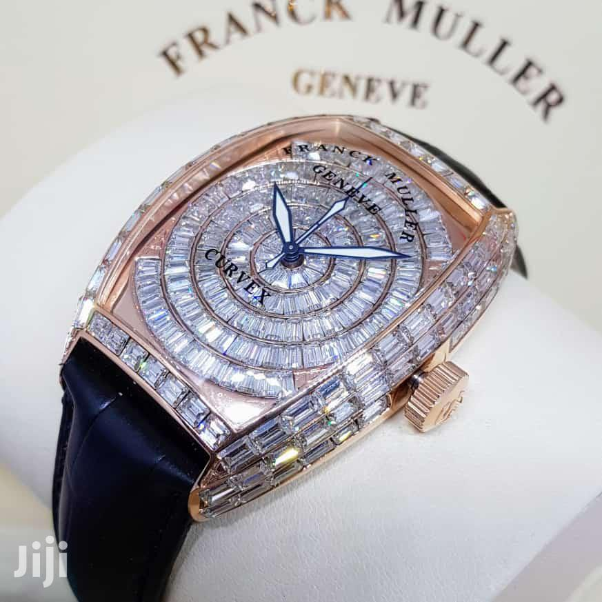 Franck Muller Rose Gold Full Ice Leather Strap Watch