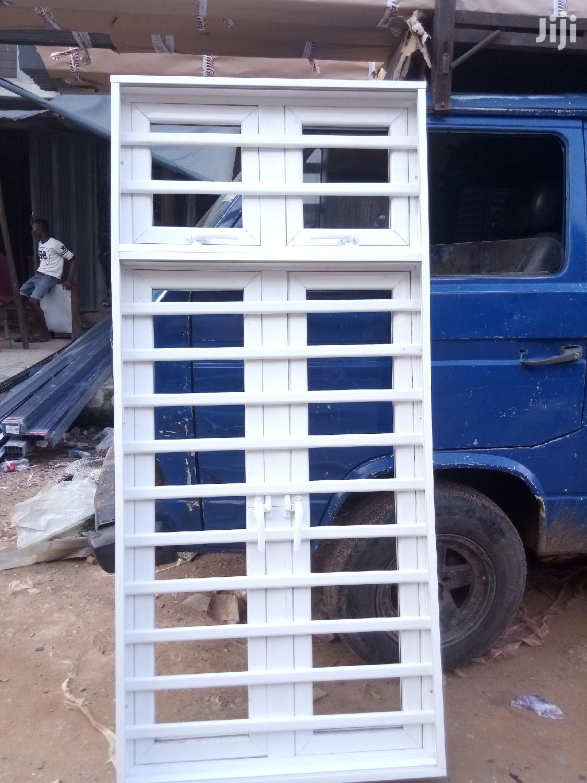 Casement Window With 12mm Iron Aluminium Burglary With Net. | Windows for sale in Agege, Lagos State, Nigeria