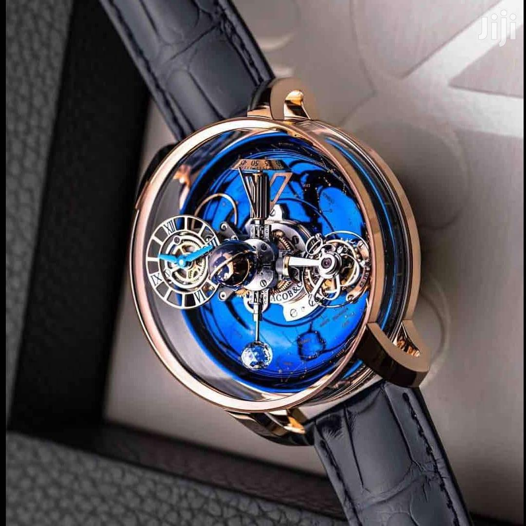 Jacob&Co Rose Gold Skeleton Leather Strap Watch