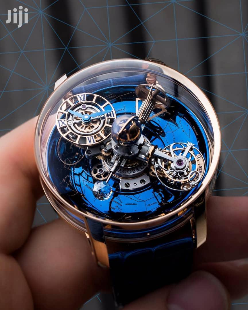 Jacob Co Skeleton Automatic Rose Gold Leather Strap Watch