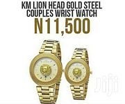Km Lion Head Gold Steel Couple Wrist Watch | Watches for sale in Lagos State