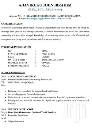 Accountant   Accounting & Finance CVs for sale in Abuja (FCT) State, Lugbe District