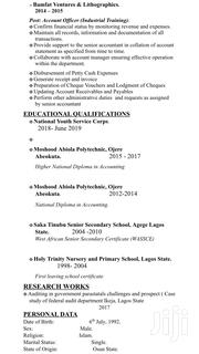 Accounting & Finance CV | Accounting & Finance CVs for sale in Lagos State, Agege