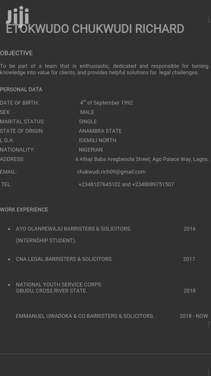 Legal CV | Legal CVs for sale in Lagos Island (Eko), Lagos State, Nigeria