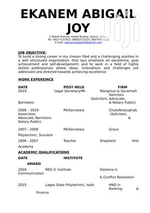 Personal Assistant To The CEO | Clerical & Administrative CVs for sale in Lagos State, Isolo