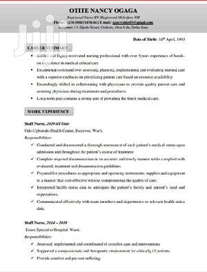 Nursing Midwifery | Healthcare & Nursing CVs for sale in Delta State, Udu