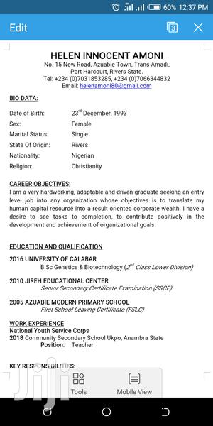 Health & Beauty CV | Health & Beauty CVs for sale in Rivers State, Port-Harcourt
