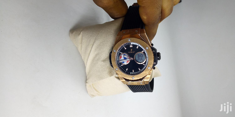 Hublot Chronograph Digital/Analog Rose Gold Rubber Strap Watch